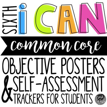 "6th Grade ELA CCSS ""I CAN"" Objective Posters & Self-Assess"
