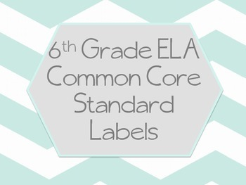 6th Grade ELA Common Core Labels