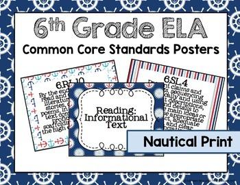 6th Grade ELA Common Core Posters- Nautical