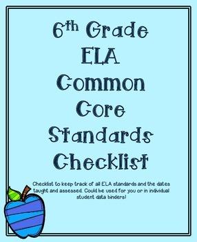 6th Grade ELA Common Core Standards Checklist