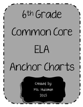 6th Grade ELA Writing Anchor Charts