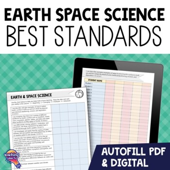 """6th Grade Earth Space Science """"I Can"""" Student Checklists F"""