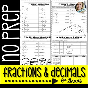 Fraction and Decimal Operations Activities