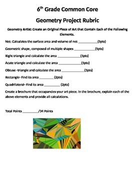 6th Grade Geometry Common Core Project