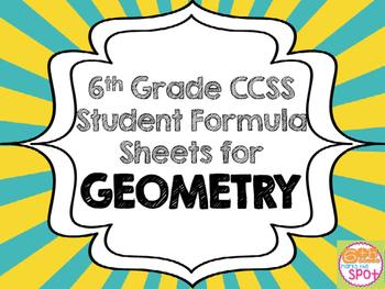 6th Grade Geometry Formula Sheet Aligned to Common Core**