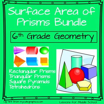 6th Grade Geometry:  Surface Area of Prisms Unit - Bundle