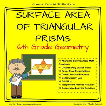 6th Grade Geometry:  Surface Area of Triangular Prisms
