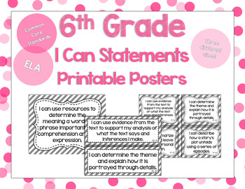 6th Grade Grade ELA I Can Statements for CCSS Standards (G