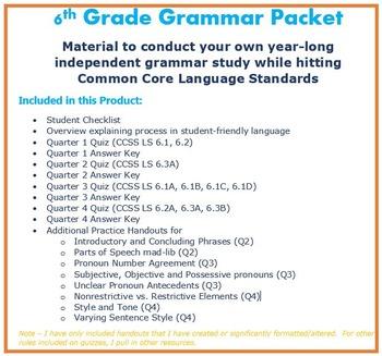 6th Grade Grammar - COMPLETE Unit hitting Common Core Lang