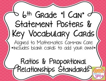 6th Grade I Can Posters & Key Vocab Cards CCSS Math: Ratio