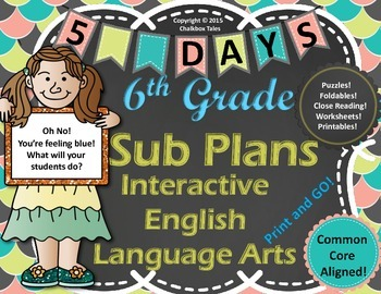 Sixth Grade Interactive  Emergency Sub Plans English Langu