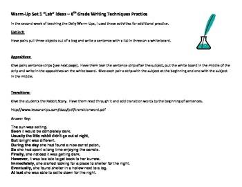 6th Grade Language Arts Warm-Ups Additional Writing Techni