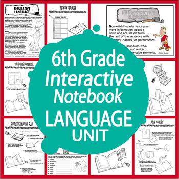 6th Grade Language Interactive Notebook Unit + Full Color