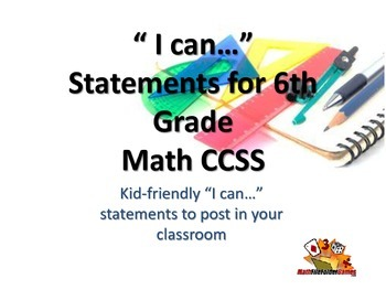 """6th Grade MATH CCSS """"I Can"""" Statements {Editable PowerPoin"""