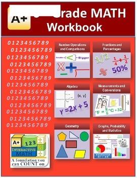 """A+ Math"" 6th Grade Math Workbook (Worksheets, Exams and A"