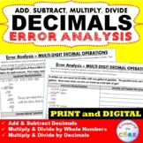 DECIMAL OPERATIONS Word Problems - Error Analysis  (Find t