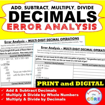 DECIMAL OPERATIONS Word Problems - Error Analysis  (Find t