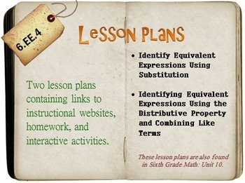 6th Grade Math:  6.EE.4:  Two Lesson Plans