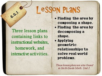 6th Grade Math:  6.G.1:  Three Lesson Plans