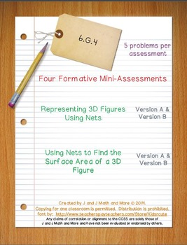 6th Grade Math:  6.G.4 Mini-Assessments