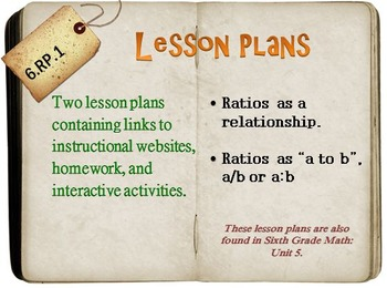 6th Grade Math:  6.RP.1:  Two Lesson Plans