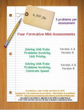 6th Grade Math:  6.RP.3b Mini-Assessments