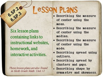 6th Grade Math:  6.SP.2 & 6.SP.3:  Six Lesson Plans