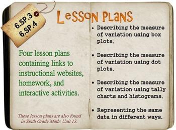 6th Grade Math:  6.SP.3 & 6.SP.4:  Four Lesson Plans