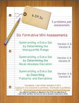 6th Grade Math:  6.SP.5c Mini-Assessments