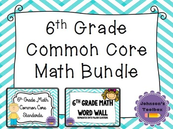6th Grade Math Common Core Bundle - word wall and standards
