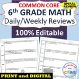 6th Grade Daily or Weekly Spiral Math Review {Common Core}