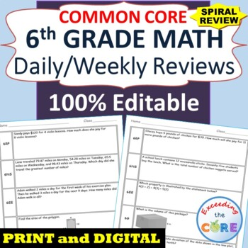 6th Grade Daily / Weekly Spiral Math Review {Common Core}