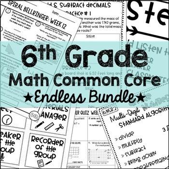 6th Grade Math Common Core Endless Growing Bundless