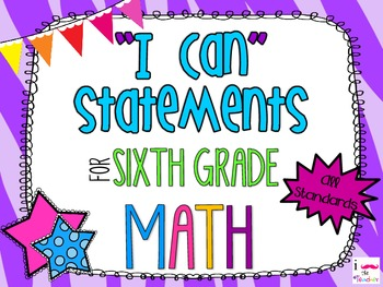 6th Grade Math Common Core *I Can Statements* Zebra Print