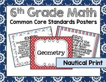 6th Grade Math Common Core Posters- Nautical