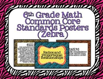 6th Grade Math Common Core Posters- Zebra Pattern Design!