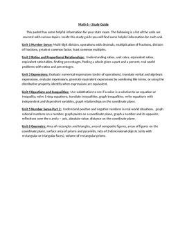 6th Grade Math Common Core Study Guide
