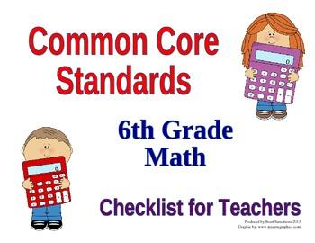6th Grade Math Common Core Standards Teacher Checklist