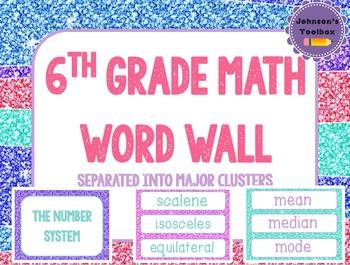 6th Grade Math Common Core Word wall - glitter pink purple