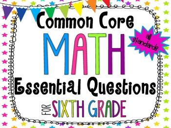 6th Grade Math Essential Questions Neon Stars *Common Core