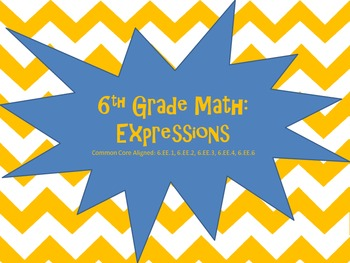 6th Grade Math Expressions Task Cards (Common Core)