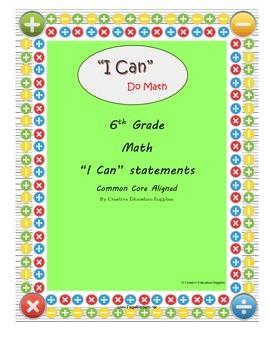 "6th Grade Math: ""I Can"" Statements"