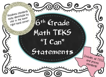 """Sixth Grade Math TEKS """"I Can"""" statements, Legal and Letter Sized!"""