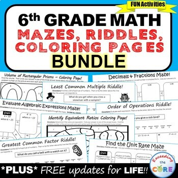 Math Coloring Pages 6th Grade : Exceeding the core: fun with math fluency
