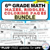 6th Grade Math Mazes, Riddles & Coloring Pages (Fun MATH A