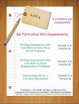 6th Grade Math:  6.EE.6 Mini-Assessments