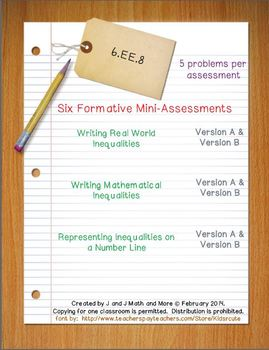 6th Grade Math:  6.EE.8 Mini-Assessments