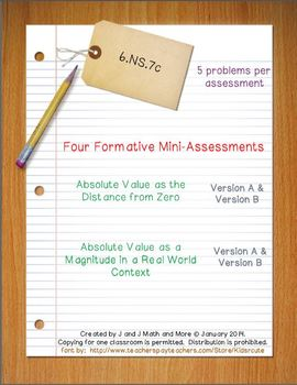 6th Grade Math:  6.NS.7c Mini-Assessments