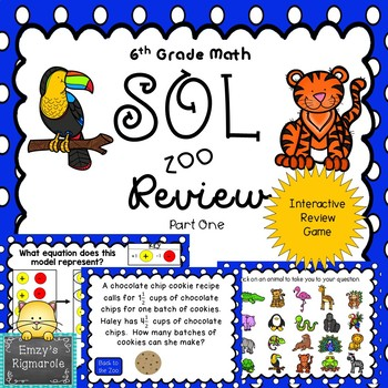 6th Grade Math SOL Review Game- Part 1