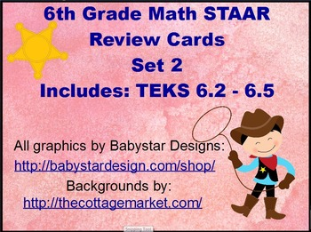 6th Grade Math STAAR Review Scoot Cards Set 2